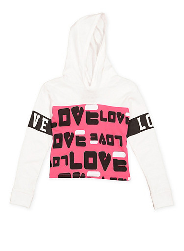 Girls 7-16 Love Graphic Hooded Crop Top,WHITE,large