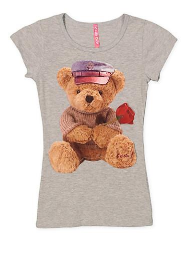 Girls 7-16 Bear Patch Tee,GRAY,large