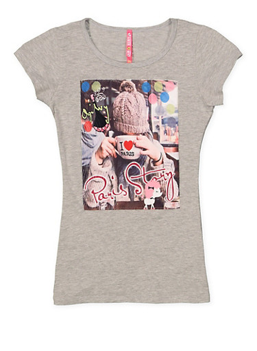 Girls 7-16 Paris Patch Tee,GRAY,large
