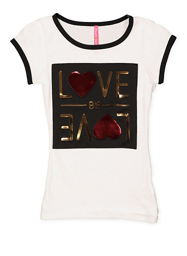 Girls 7-16 Love Be Love 3D Foil Graphic Tee,WHITE,large
