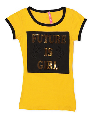 Girls 7-16 Future is Girl 3D Foil Graphic Tee,MUSTARD,large