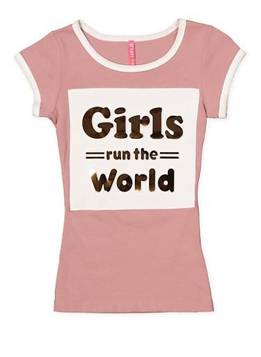Girls 7-16 Girls Run the World 3D Graphic Tee,MAUVE,large