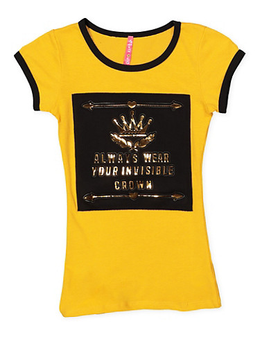 Girls 7-16 Crown 3D Foil Graphic Tee,MUSTARD,large