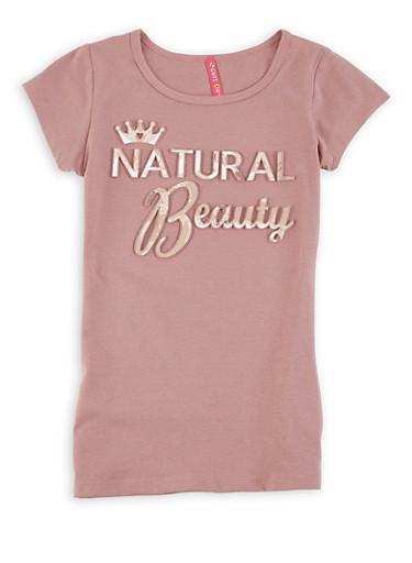 Girls 7-16 Natural Beauty 3D Foil Graphic Tee,MAUVE,large