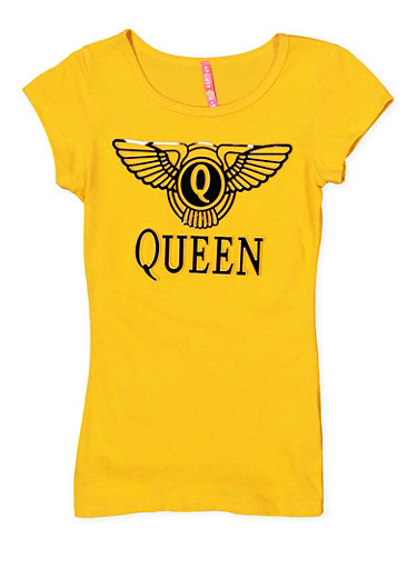Girls 7-16 Queen 3D Graphic Tee,MUSTARD,large