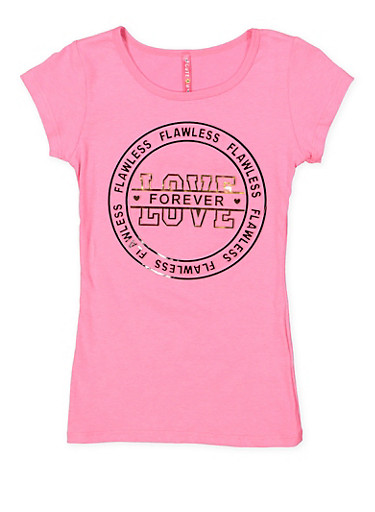 Girls 7-16 Love Forever 3D Foil Graphic Tee,NEON PINK,large
