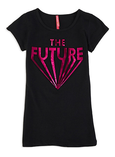 Girls 7-16 The Future 3D Foil Graphic Tee,BLACK,large