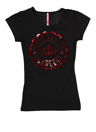 Girls 7-16 Flawless 3D Foil Graphic Tee,BLACK,large