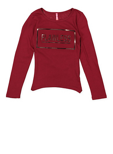 Girls 7-16 3D Flawless Graphic Tee,WINE,large