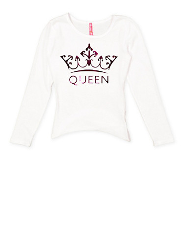 Girls 7-16 3D Queen Graphic Tee,WHITE,large