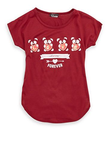 Girls 7-16 Glitter Graphic T Shirt,WINE,large