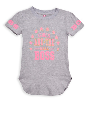 Girls 7-16 Boss Glitter Graphic T Shirt,GREY,large