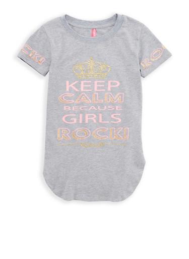 Girls 7-16 Glitter Graphic Tunic T Shirt,GREY,large