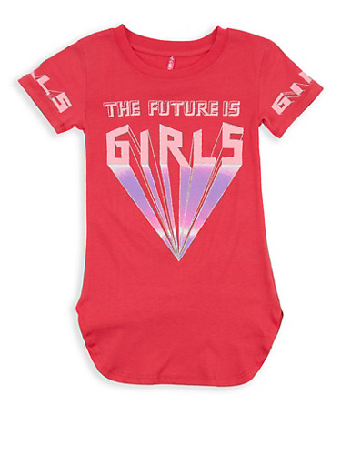 Girls 7-16 Glitter Graphic T Shirt,CORAL,large