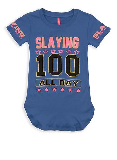 Girls 7-16 Glitter Graphic T Shirt,DENIM,large