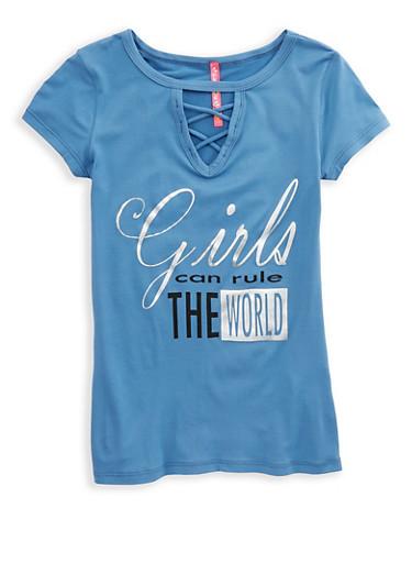 Girls 7-16 Foil Graphic T Shirt,DENIM,large