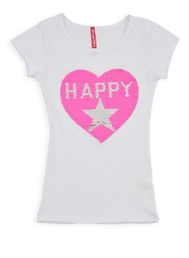 Girls 7-16 Reversible Heart Sequin T Shirt,WHITE,large