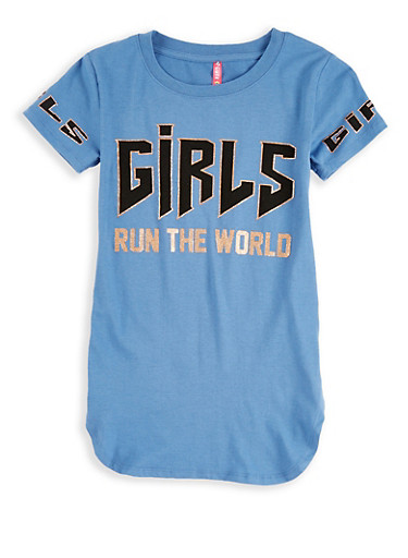 Girls 7-16 Girls Run the World Graphic Top,DENIM,large