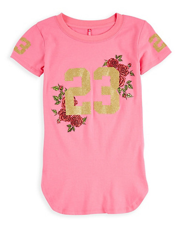Girls 7-16 Glitter Graphic T Shirt,NEON PINK,large