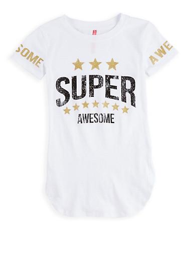 Girls 7-16 Glitter Graphic T Shirt,WHITE,large