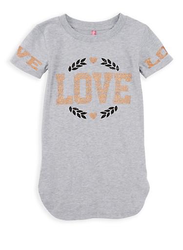Girls 7-16 Love Graphic Tee,GRAY,large