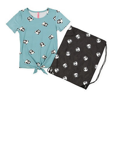 Girls 7-16 Panda Print Tee with Drawstring Backpack,TEAL,large