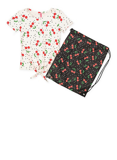 Girls 7-16 Cherry Print Tee with Drawstring Backpack,WHITE,large