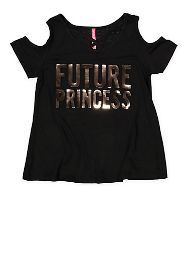 Girls 7-16 Future Princess 3D Foil Graphic Tee,BLACK,large