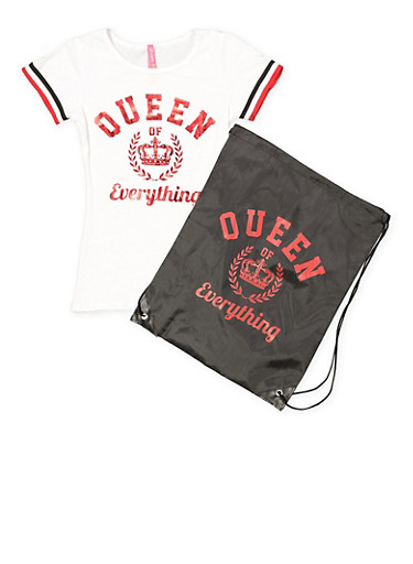 Girls 7-16 Queen of Everything Tee and Drawstring Backpack,WHITE,large