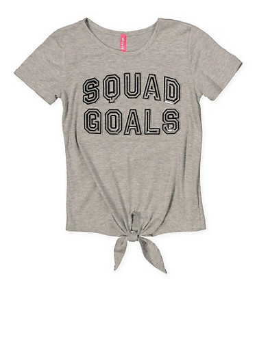 Girls 7-16 3D Foil Graphic Squad Goals Tee,GRAY,large