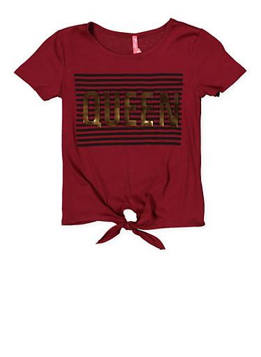 Girls 7-16 Queen 3D Foil Graphic Tie Front Tee,WINE,large