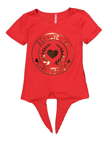 Girls 7-16 Girl Power 3D Foil Graphic Tie Front Tee,RED,large
