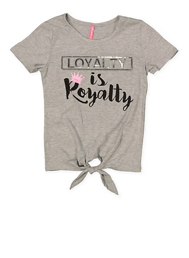 Girls 7-16 Loyalty is Royalty 3D Foil Graphic Tee,GRAY,large