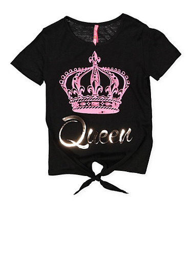 Girls 7-16 3D Foil Queen Graphic Tee,BLACK,large