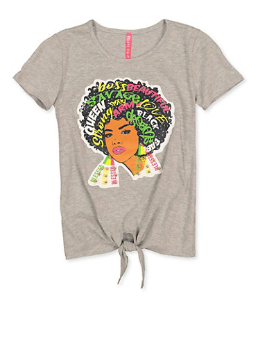 Girls 7-16 Afro Girl Patch Tee,HEATHER,large