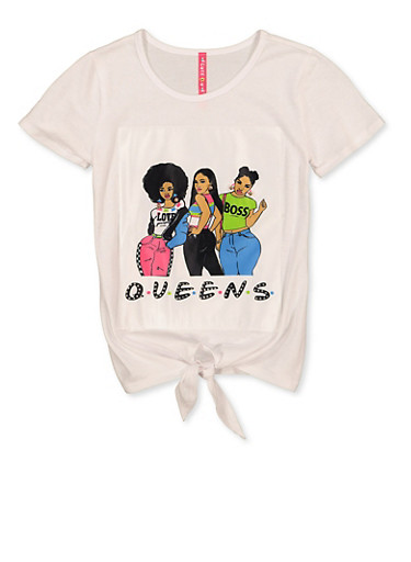 Girls 7-16 Queens Patch Tee,WHITE,large