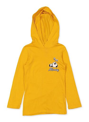 Girls 7-16 Panda Mood Hooded Top,MUSTARD,large