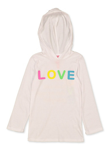 Girls 7-16 Hooded Love Tee,WHITE,large