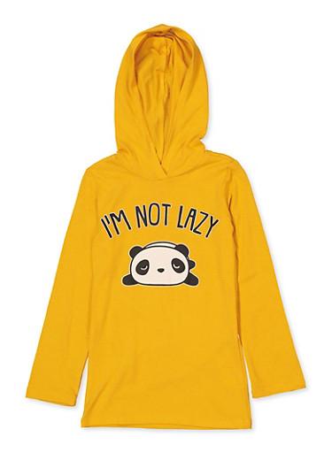 Girls 7-16 Im Not Lazy Panda Graphic Top,MUSTARD,large