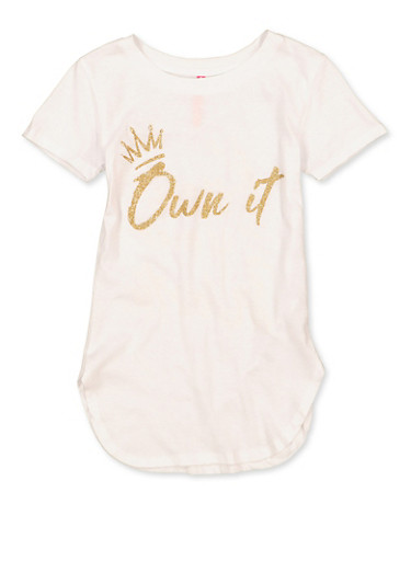Girls 7-16 Own It Glitter Graphic Tee,WHITE,large