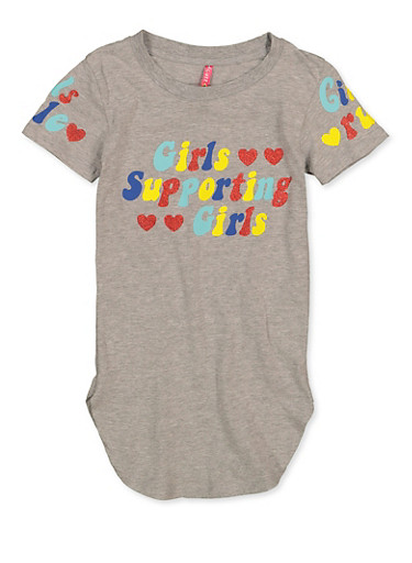 Girls 7-16 Girls Supporting Girls Tee,HEATHER,large