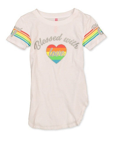 Girls 7-16 Blessed With Love Tee,WHITE,large