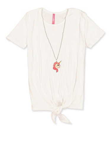 Girls 7-16 Tie Front Tee with Unicorn Necklace,IVORY,large