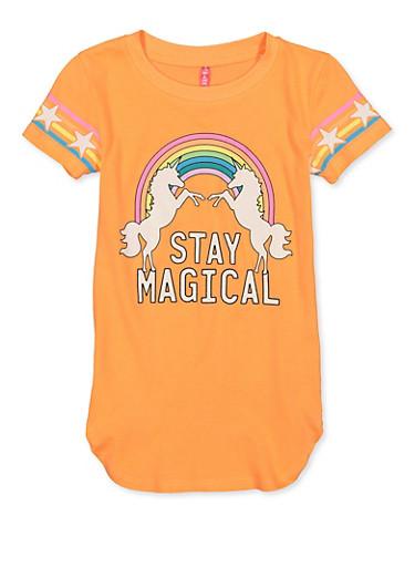 Girls 7-16 Stay Magical Unicorn Tee,NEON ORANGE,large