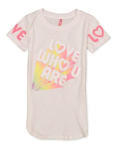 Girls 7-16 Love Who U Are Tee,WHITE,large