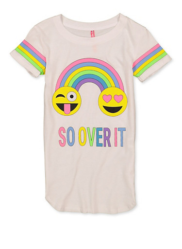 Girls 7-16 So Over It Tee,WHITE,large