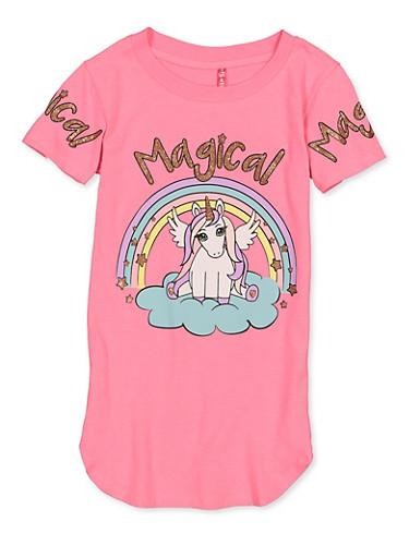 Girls 7-16 Magical Unicorn Tee,NEON PINK,large