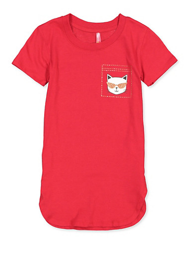 Girls 7-16 Are You Kitten Me Right Meow Tee,RED,large