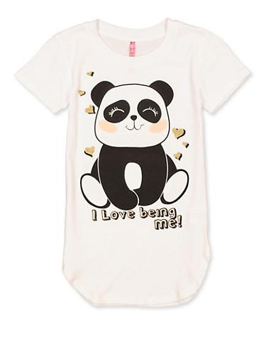 Girls 7-16 I Love Being Me Panda Tee,WHITE,large