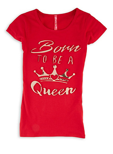 Girls 7-16 Born To Be A Queen 3D Graphic Tee,RED,large